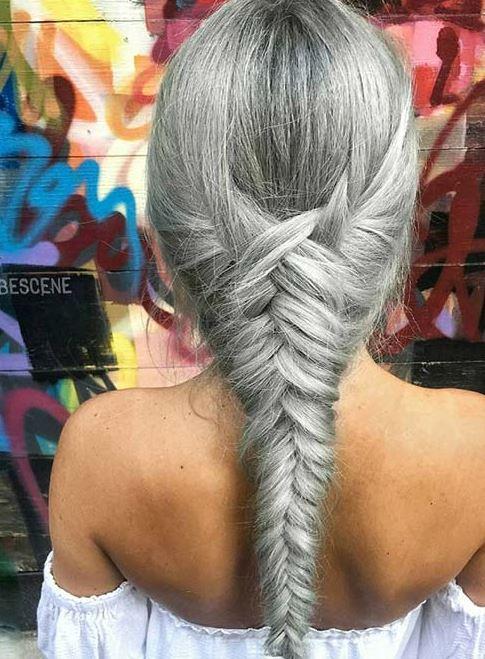 gri örgü saç modeli