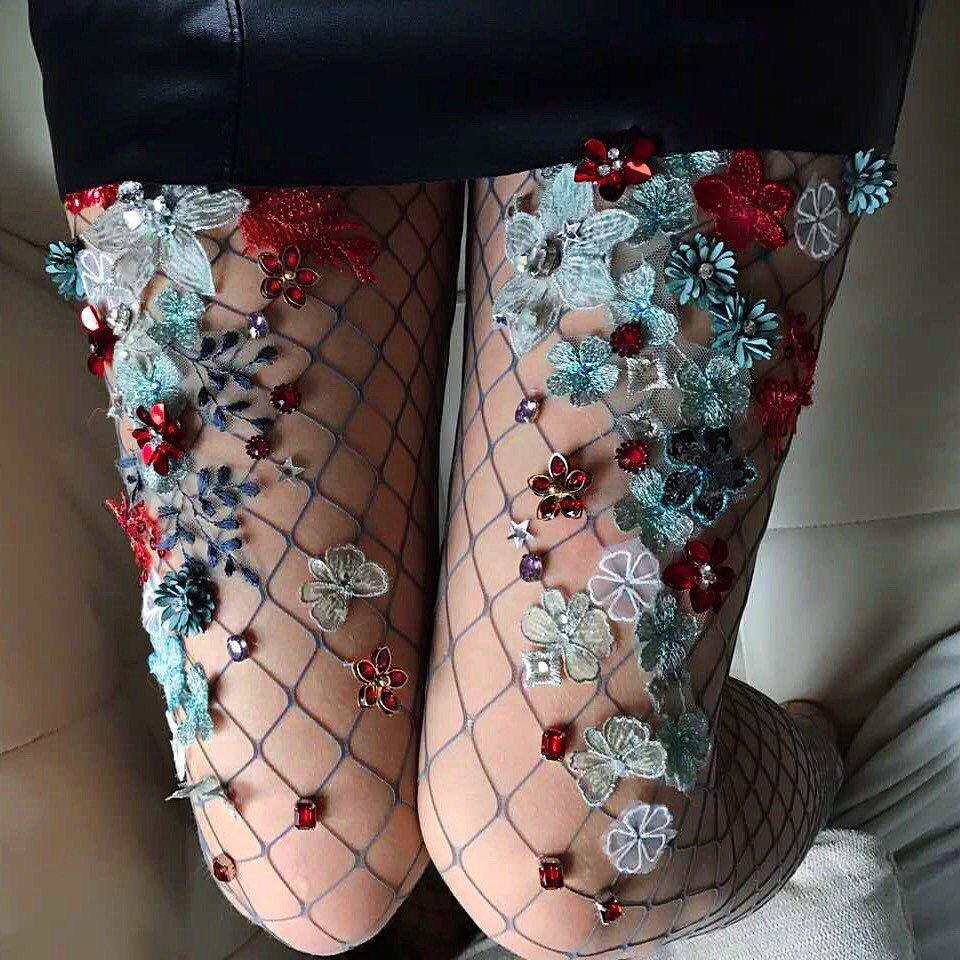 Boncuklu file çorap modası