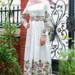 cicekli yaz uzun elbise
