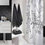 beyaz ağırlıklı siyah banyo dekorasyonu