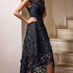 dantel detayli siyah abiye elbise