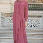 asimetrik kesim tesettür hamile abiye elbise modelleri