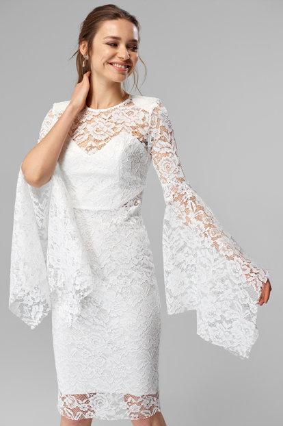 dantelli beyaz elbise modelleri