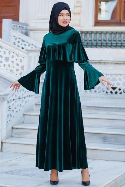 kadife uzun tesettür elbise