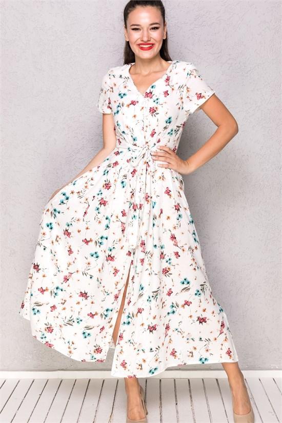 vatkalı çiçekli elbise