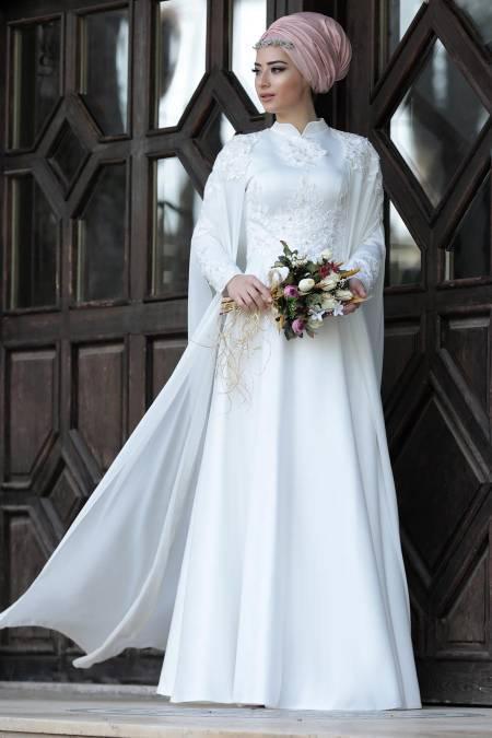 pelerinli nikah elbisesi modelleri