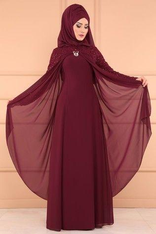 pelerinli tesettür abiye elbise modelleri