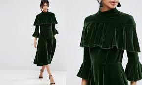 kadife fırfırlı elbise