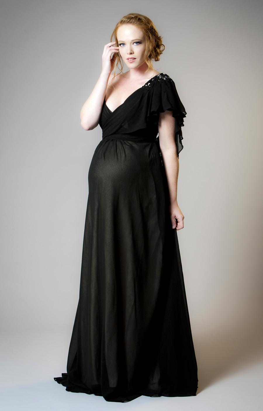 V yaka hamile abiye elbiseler