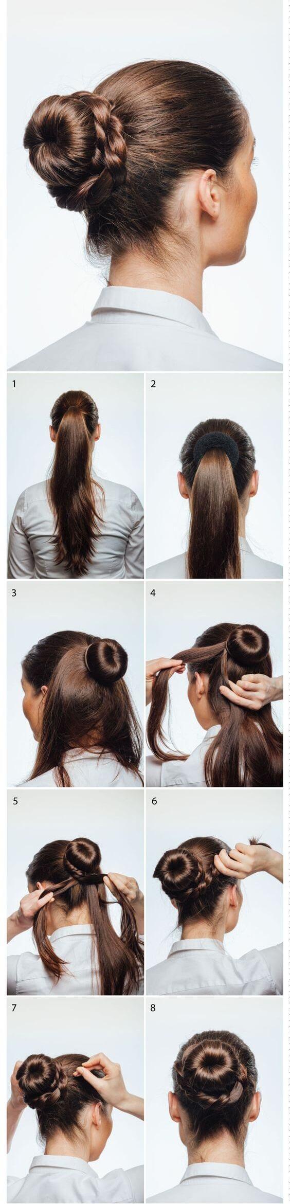 örgülü donat topuzu saç modelleri