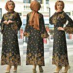 tesettür elbise etnik desenli