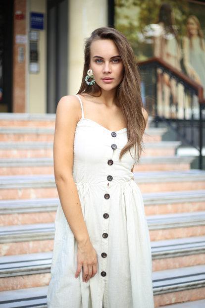 askılı uzun keten elbise