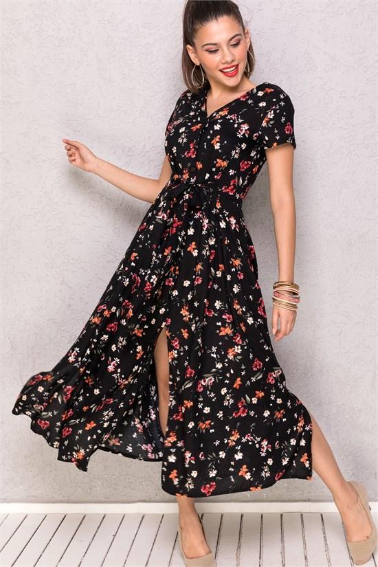 cicekli elbise siyah