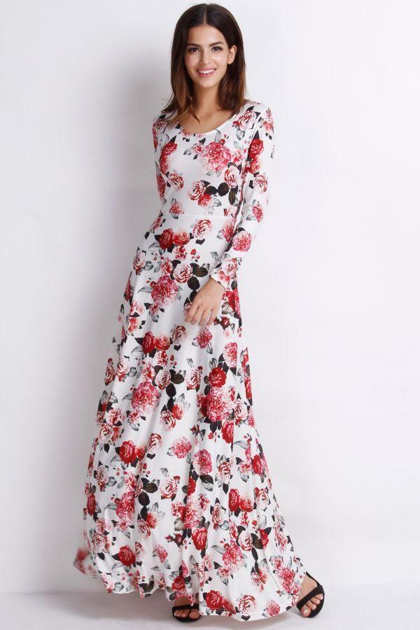 cicekli uzun elbise