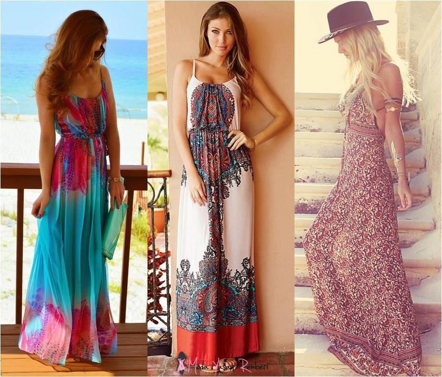 yazlık uzun elbise modelleri