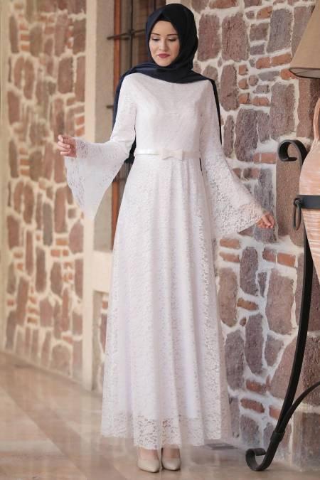 dantel tesettür nikah elbise modelleri
