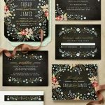 siyah çiçekli düğün davetiye örnekleri