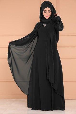 tesettur siyah abiye elbise modelleri