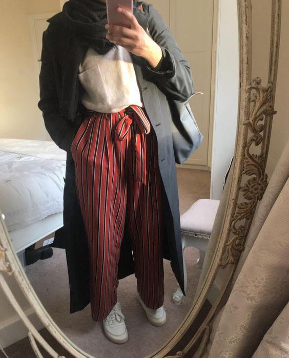 cizgili bol pantolon kombin 2019