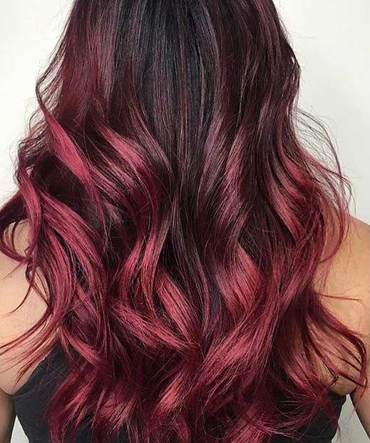 pembe kızıl ombre saç modeli 2019