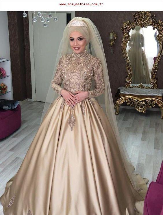 tarlatanlı tesettür nişan elbisesi