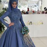 tesettür nişan elbisesi mavi