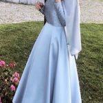 tesettur mavi elbise modelleri 2019