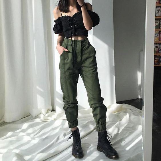 crop top kargo pantolon kombini