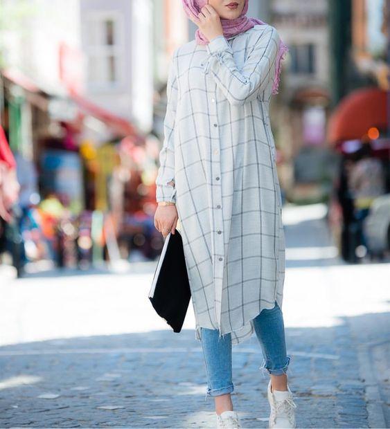 tesettur gomlek elbise kombinleri 2019