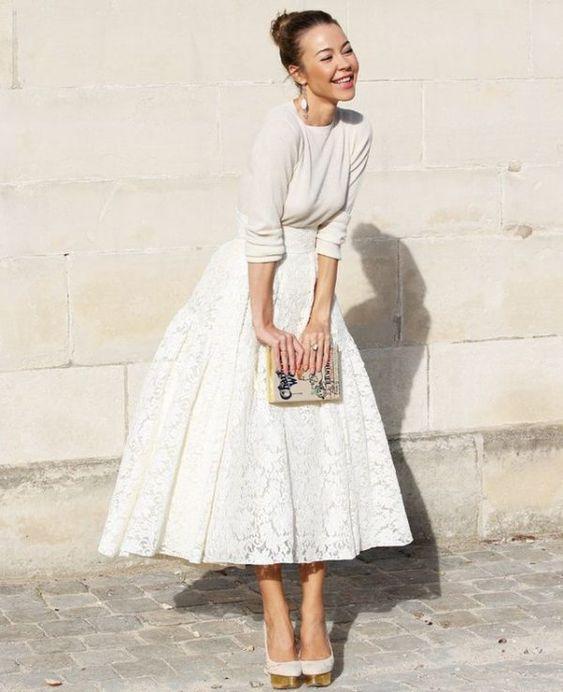 beyaz midi boy elbise modeli
