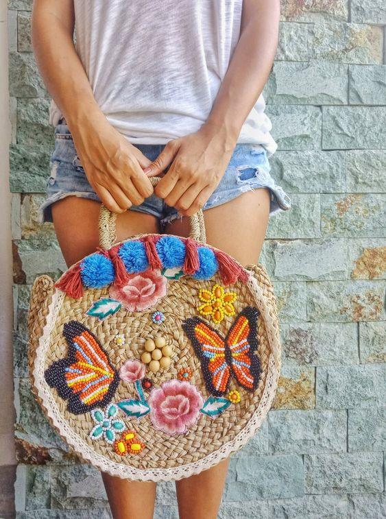 desenli hasır çanta modeli