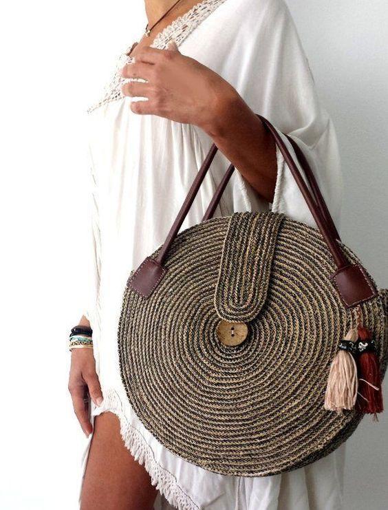 hasır el çantası modelleri