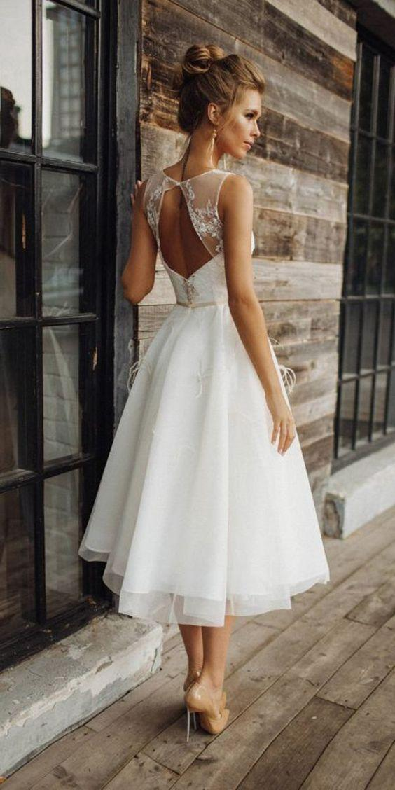 midi-length awedding dress