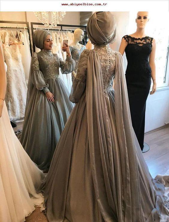 nişan tesettür elbise modelleri