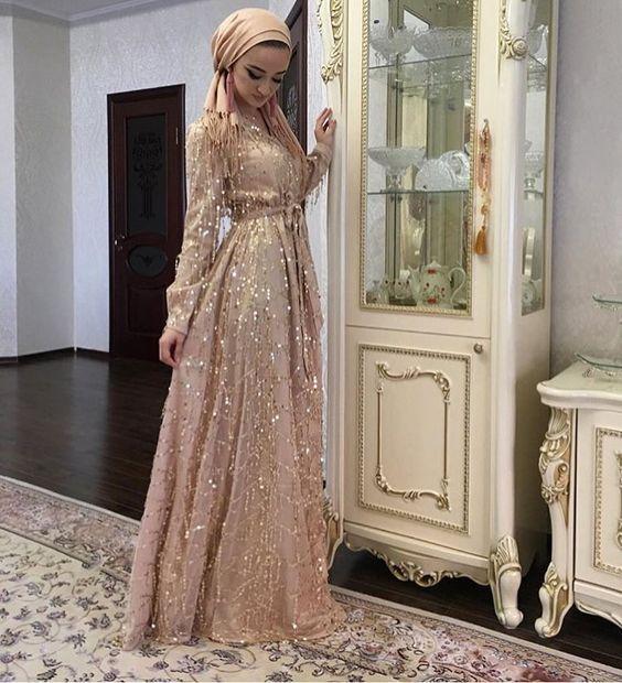 pırıltılı tesettür nişan elbisesi