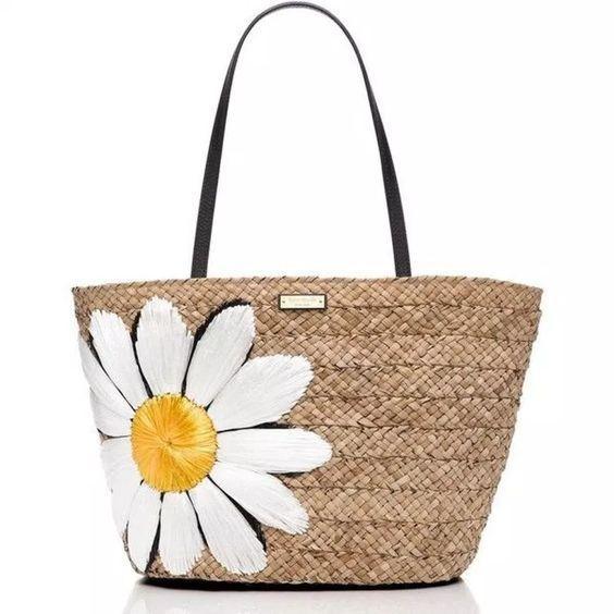 plajlık hasır çanta kombinleri