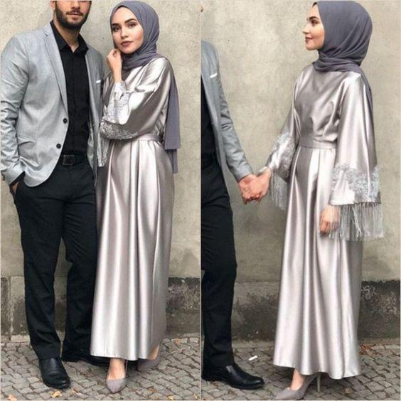 saten tesettür nişan 2019 elbise