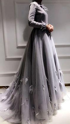 tüylü tesettür nişan elbisesi modelleri