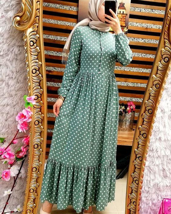 tesettür puantiyeli elbise modelleri 2019