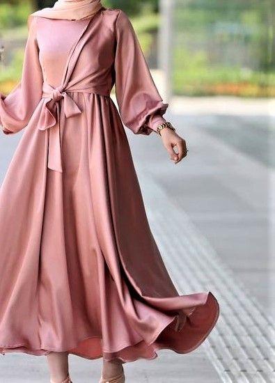 tesettür saten elbise modelleri