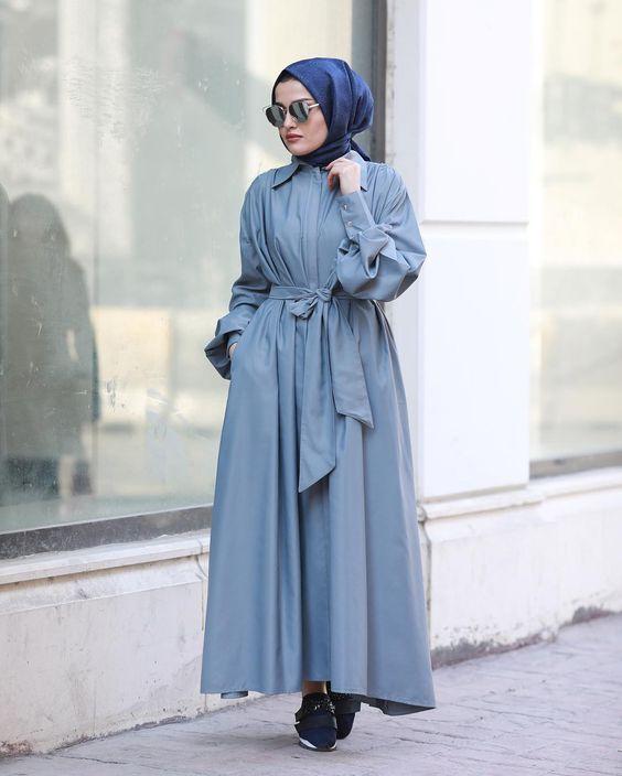 tesettür trench elbise modelleri 2019