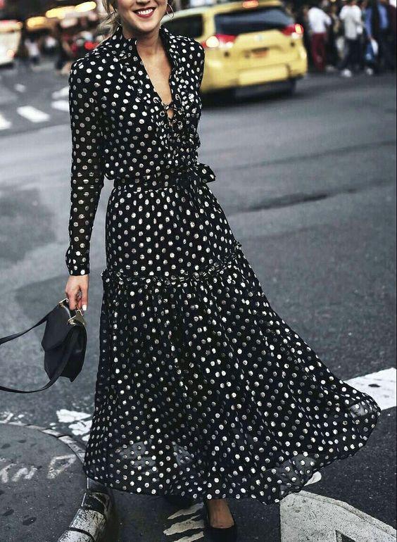 puantiyeli uzun elbise modeli