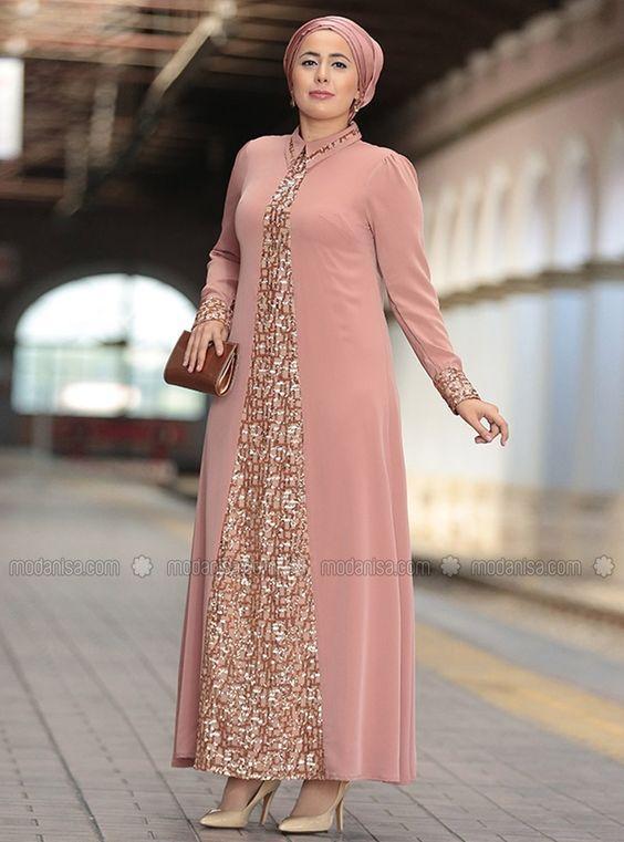 pudra renk abiye elbise modeli