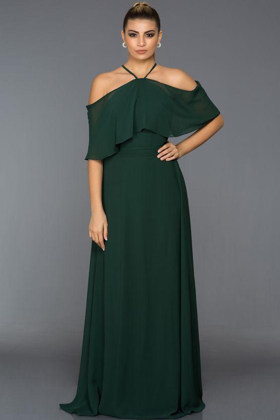 yeşil büyük beden abiye elbise