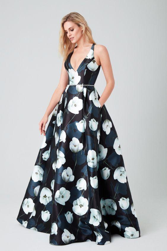 çiçekli saten elbise modeli