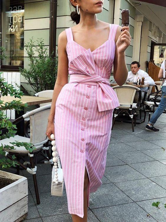 çizgili düğmeli elbise
