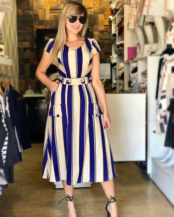 çizgili midi boy elbise modeli 2019