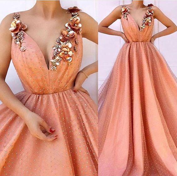 üç boyutlu çiçekli abiye elbise