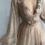 balon kol abiye elbise modelleri