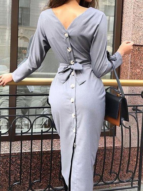 düğmeli abiye elbise modeli